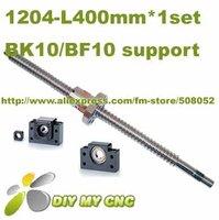 1204 Rolled Ballscrew set- 1pcs SFU1204 -L400MM +1pcs ballnut + end machining + 1set BK10 BF10 Support