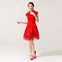 Cheongsam bridal evening dress red short design cheongsam dress