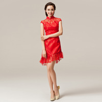 Chinese style vintage short-sleeve bride red cheongsam wedding dress evening dress short design fashion cheongsam