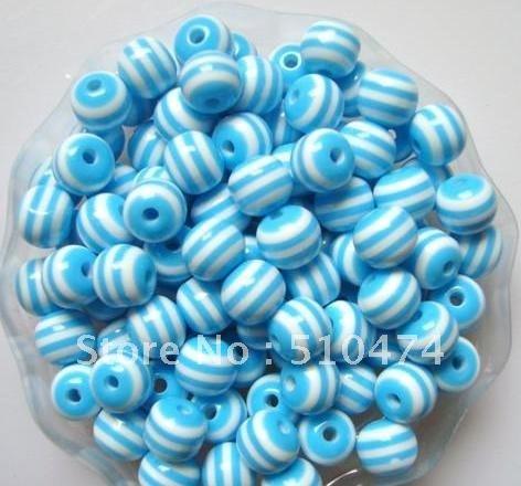 1000pcs loose Lt.blue&White strip(01#) strip Epoxy resin beads 8mm for DIY jewelry/Child jewelry!(China (Mainland))
