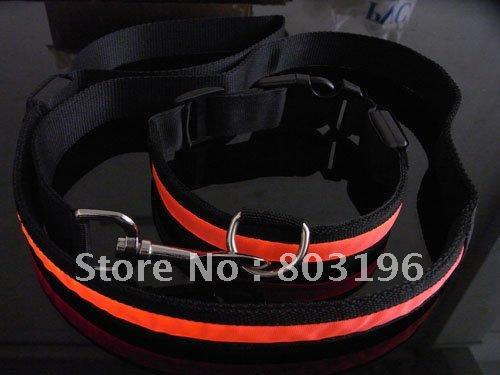 20 Sets/Lot Free Shipping (1 set=1 collar+1 leash) LED Flashing Dog leashes fashion Puppy Leads 6 colors(China (Mainland))