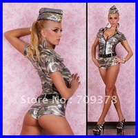 Free shipping US Army Hot Pants Overall Costume 2012 Sexy Teddy Wholesale 10pcs/lot Military Costume Lady cosplay costume 8574