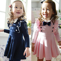 Free Shipping! 2013 fashion autumn bow double breasted girls clothing baby long-sleeve dress