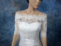Fast delivery popular  half   sleeve  lace amazing bridal wedding jacket
