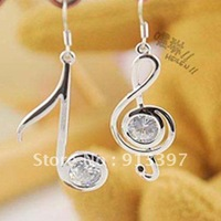 12PCS Silver Color Fashion Korea Rhinestone Rhythm Drop Earrings  Asymmetric Musical Notes Earring
