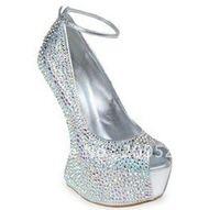 2012 No heels pumps crystal wedding shoes sexy high heel pumps open toe platform heels red bottom shoes
