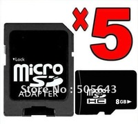 Brand new Lot of 5 real capacity 8GB MicroSDHC Micro SD SDHC MicroSD TF Flash Memory Card+ADAPTER+Free shipping