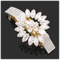 2012 the latest/Free shipping/ retail/Wholesale/gold plated with clear Austria crystal zircons sunflower hairpins for women