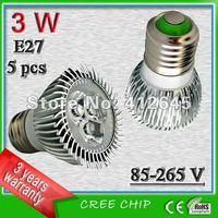 Free shipping (5pcs/lot)_3w Aluminum Non-dimmable  E27  cree led spotlight