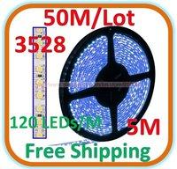 50 M/lot Waterproof 5 M blue LED 3528 SMD Rope Light 120 LED/M