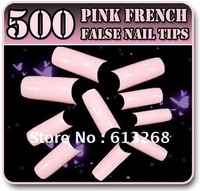 Freeshipping 500pcs Pink Acylic French Artificial False Nail Tips nail tools wholesale