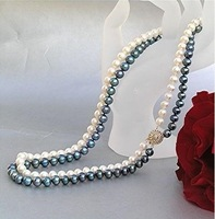 natural pearl BLACK WHITE PEARL NECKLACE
