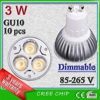 Free shipping 3 watt  dimmable led  GU10 spot lights_ 3W led bulb