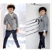 new Boys fashion stripes small suit,Children 's coat,children blazer,Handsome,Trendsetter,4pcs/lot