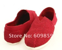 New Fashion pierced soft bottom women's canvas casual shoes (20 pairs /lots)20 Pieces free shipping