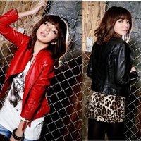 Free Shipping! 2012 Autumn New Fashion Women Mandarin Collar Zip Up Bomber Small PU Leather Motorcycle Jacket Outerwear B06729#