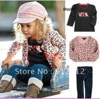 Hot Sale! girl fashion Leopard print clothing set vogue jacket+long sleeve t-shirt+slim jeans 3pcs set sweet Autumn suits 5sets