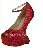 new style hot sale No heels pumps crystal wedding shoes sexy high heel pumps open toe platform heels