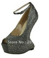 new style hot sale! !No heels pumps crystal wedding shoes sexy high heel pumps open toe platform heels 7colors