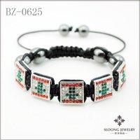 new design lebanon flag bracelet shamballa square bracelets handmade bangles (20pcs/lot)