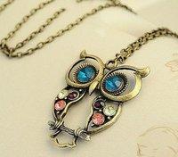 Minimum Order $20 (mixed order)  hot sale fashion jewelry Blue eyes Owl necklace