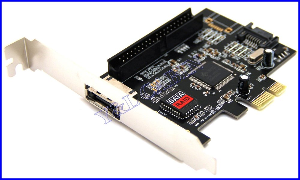 1 Port eSATA e-SATA 1 Port Serial ATA SATA II 1 Port IDE 3.5 40P RAID to PCI-E PCI Express Adapter Converter Card JMicron JMB363(China (Mainland))