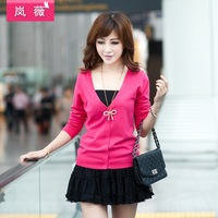 FREE Shipping 2013 Fashion Hot Spring New Arrival V-neck Long-sleeve Sweater Cardigan Outerwear Sweater Female Plus Size  M01
