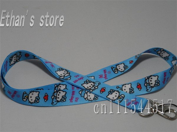 Vibrant blue Hello Kitty KEY Lanyard soft hand made fabric neck strap for ID,Mp3 cell phone+Free Shipping(China (Mainland))