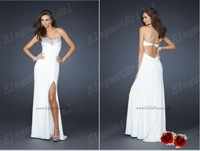 Off the shoulder White Graduation Evening Dress Beading Chiffon Long 2012 Designer