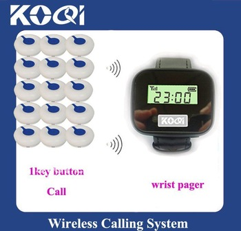 2012 Newest Restaurant Wireless service calling system ;15pcs of table bell and 1 pcs of wrist watch reciever ; DHL freeshipping