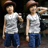 2012 summer cool pocket paragraph boys clothing baby casual set send strap tz-0336