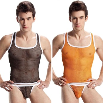 Transparent Mesh Men Briefs Underwear Sexy Lingerie See Thru 4 Color Available Size M L XL +FREE SHIPPING