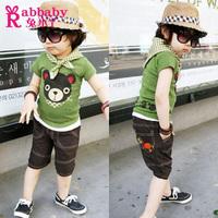 Male child female child children's clothing 2012 summer short-sleeve capris set