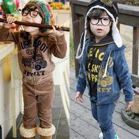 2012 autumn car boys clothing girls clothing baby velvet casual set tz-0236