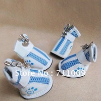 Wholesale & Retail 4PCS Gridding Sneaker Ventilate Zipper Dog Shoes, Per Size Free Shipping