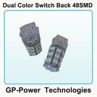 2012 Newest Free shipping+10pcs/lot+Dual Color 3157/1157/7443 Base Switch Back 48SMD Auto LED