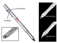 4-in-1 Laser Pointer+Ball Pen+PDA Stylus Pen+LED Bright Torch Light Silver