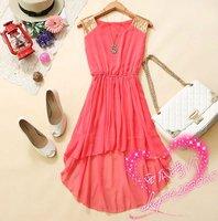 Free Shipping new hot women pink round neck sequined waist chiffon dress vest, skirt/active dress chiffon