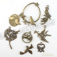 New Wholesale Charms Assorted 72pcs/lot Zinc Alloy Birds Antique Bronze Tone Metal Pendant Fit Handcraft DIY 142817