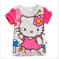 Free shipping,girls t shirt cartoon kitty t-shirts,pure cotton sport t shirt for girls 6pcs/lot mix 6size free shipping