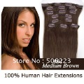 "16"" - 26"" 8pcs 100g/set  remy clip in hair extensions clip on extensions # 4 medium brown (any color available) free shipping"
