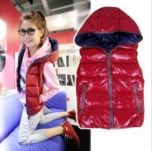 Free shipping latest style Fashion Glossy warm Hooded thicker vest 3color(China (Mainland))