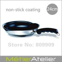 24cm non-stick frying pan with spouts 18/10 stainless steel giftbox packing K0066C