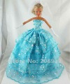 Free shipping 3pcs=Handmade Wedding Dress Clothes Gown For Barbie Doll+Glove+Headband w126
