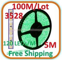100 M /Lot Waterproof 5 M Green LED 3528 SMD Rope Light 120 LED/M