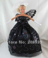Free shipping 3pcs=Handmade Wedding Dress Clothes Gown For Barbie Doll+Glove+Headband w125