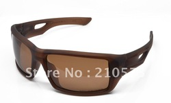 Fashion retro sport sunglasses polarized Eyepatch 2 matte brown frame gun O logo brown lens men bike bicycle riding glasses(China (Mainland))