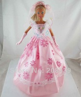 Free shipping 3pcs=Handmade Wedding Dress Clothes Gown For Barbie Doll+Glove+Headband w145