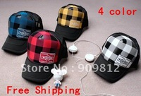 Free Shipping Grid pattern truck cap, Hip-hop hat, Mesh caps, Snapbacks hats 4 color