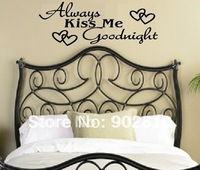 """[listed in stock]-1pc 22""""x9"""" Always Kiss Me Goodnight Wall Quotes Lettering saying decals"""
